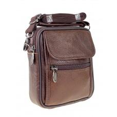 На фото 1 - Кожаная мужская сумка на пояс, коричневый цвет