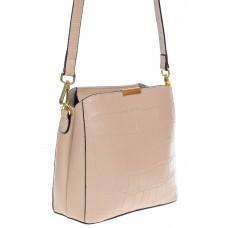 На фото 1 - Женская сумка кросс-боди из натуральной кожи с фактурой рептилии, цвет пудра