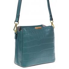 На фото 1 - Женская сумка кросс-боди из натуральной кожи с фактурой рептилии, цвет серая бирюза