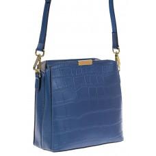 На фото 1 - Женская сумка кросс-боди из натуральной кожи с фактурой рептилии, цвет синий