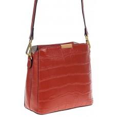 На фото 1 - Женская сумка кросс-боди из натуральной кожи с фактурой рептилии, цвет кирпично-красный