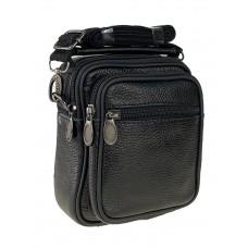На фото 1 - Кожаная мужская сумка на пояс, цвет чёрный