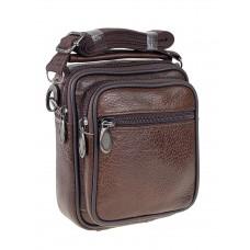 На фото 1 - Кожаная мужская сумка на пояс, цвет коричневый