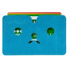 На фото 1 - Картхолдер на 6 карт из натуральной кожи, цвет голубой