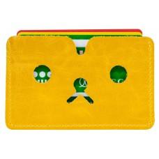 На фото 1 - Картхолдер на 6 карт из натуральной кожи, цвет желтый