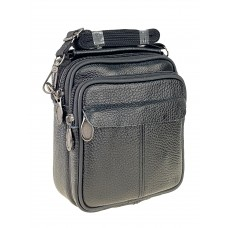 На фото 1 - Мужская сумка на пояс из фактурной натуральной кожи, цвет чёрный