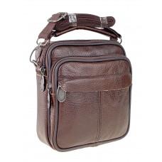 На фото 1 - Мужская сумка на пояс из фактурной натуральной кожи, цвет коричневый