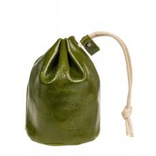На фото 1 - Женский кошелек-мешок из натуральной кожи, зеленый