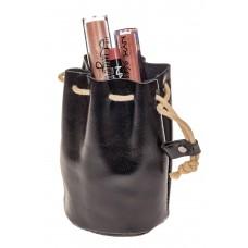 На фото 1 - Женский кошелек-мешок из кожи, черный