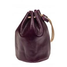 На фото 2 - Женский кошелек-мешок из натуральной кожи, цвет баклажан
