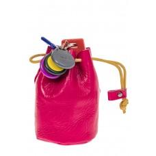 На фото 1 - Женский кошелек-мешок из натуральной кожи, цвет фуксия