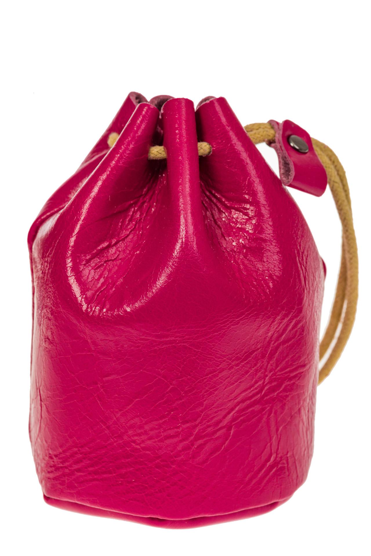 На фото 2 - Женский кошелек-мешок из натуральной кожи, цвет фуксия