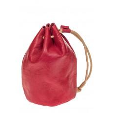 На фото 2 - Женский кошелек-мешок из натуральной кожи, цвет красный