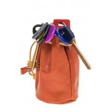 На фото 1 - Женский кошелек-мешок из натуральной кожи, цвет рыжий