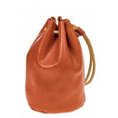 На фото 2 - Женский кошелек-мешок из натуральной кожи, цвет рыжий