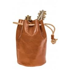 На фото 1 - Женский кошелек-мешок из натуральной кожи, цвет коричневый