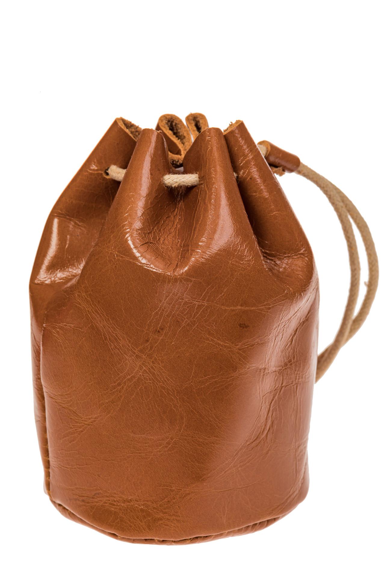 На фото 2 - Женский кошелек-мешок из натуральной кожи, цвет коричневый