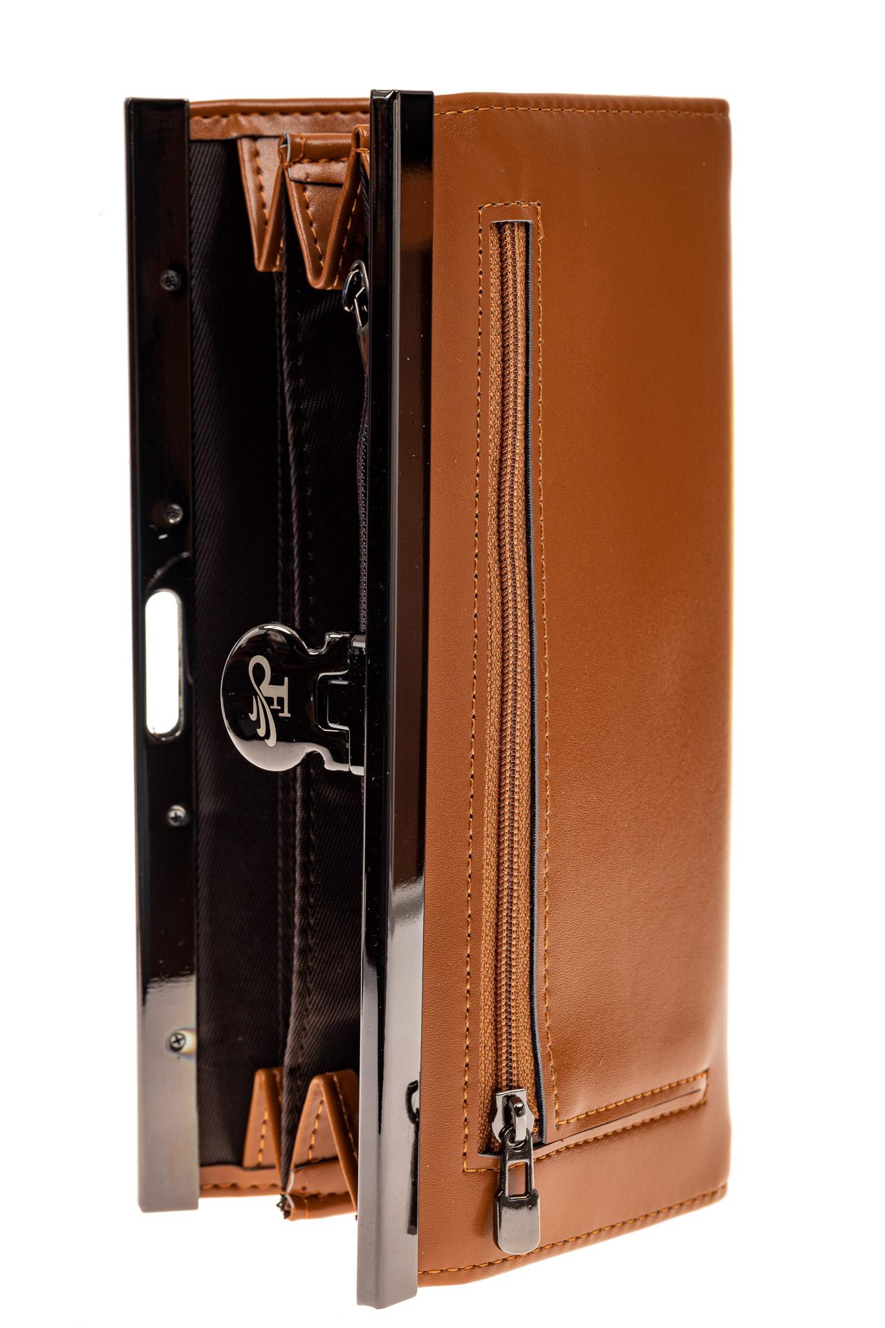 На фото 2 - Женский кошелек с фермуаром, искусственная кожа, цвет рыжий