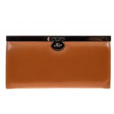 На фото 1 - Женский кошелек с фермуаром, искусственная кожа, цвет рыжий