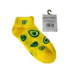 На фото 1 - Короткие молодёжные носки с принтом авокадо, цвет жёлтый