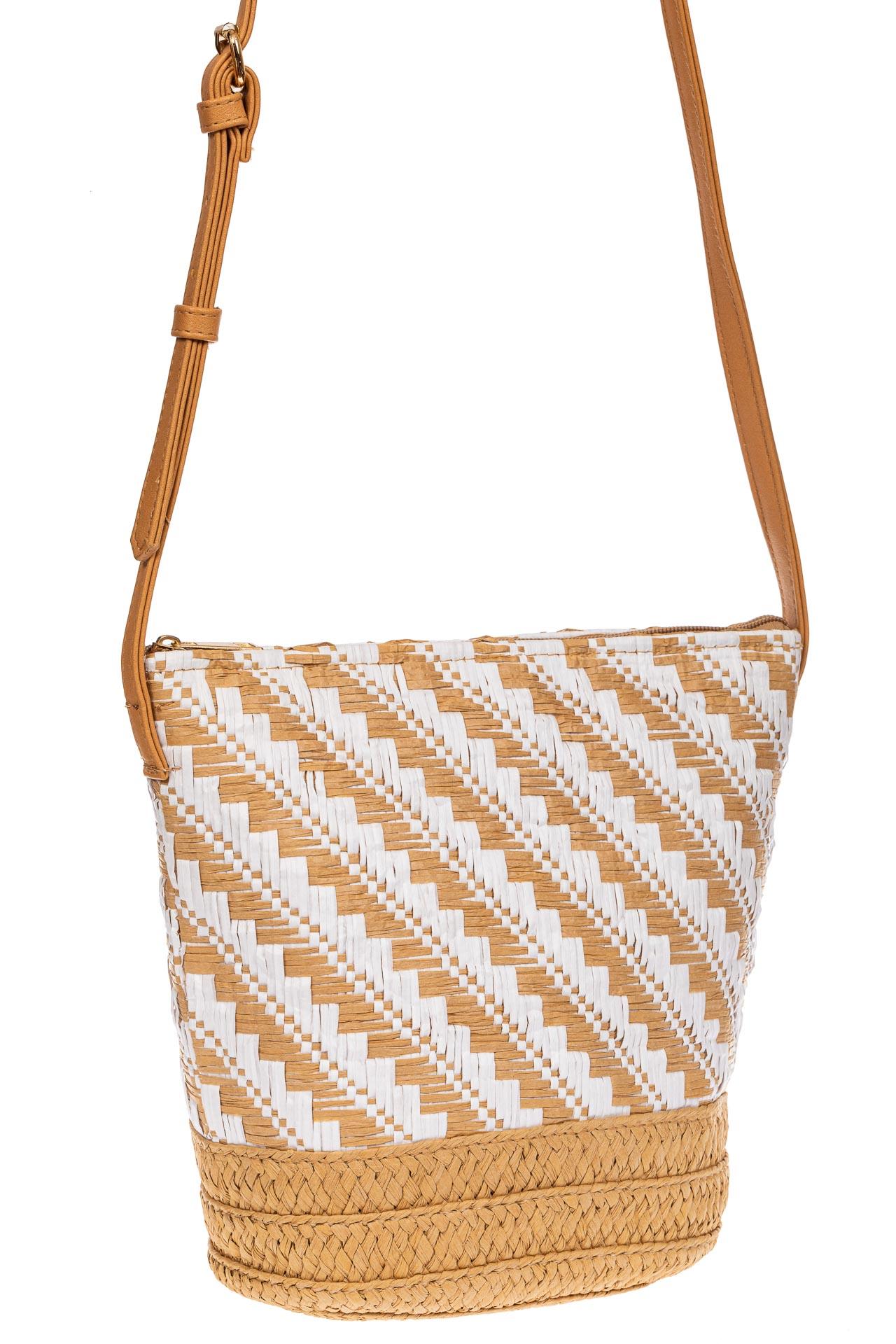 Плетеная сумка тоут из джута, цвет бежевый в диагональную полоску1025SS0620/10
