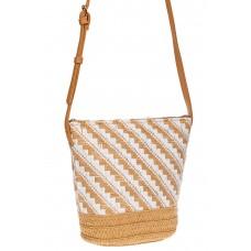 На фото 1 - Плетеная сумка тоут из джута, цвет бежевый в диагональную полоску