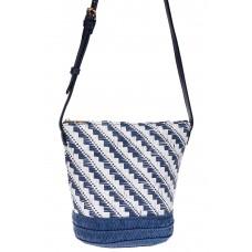 На фото 1 - Плетеная сумка тоут из джута, цвет синий в диагональную полоску