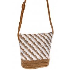 На фото 1 - Плетеная сумка тоут из джута, цвет песочный в диагональную полоску