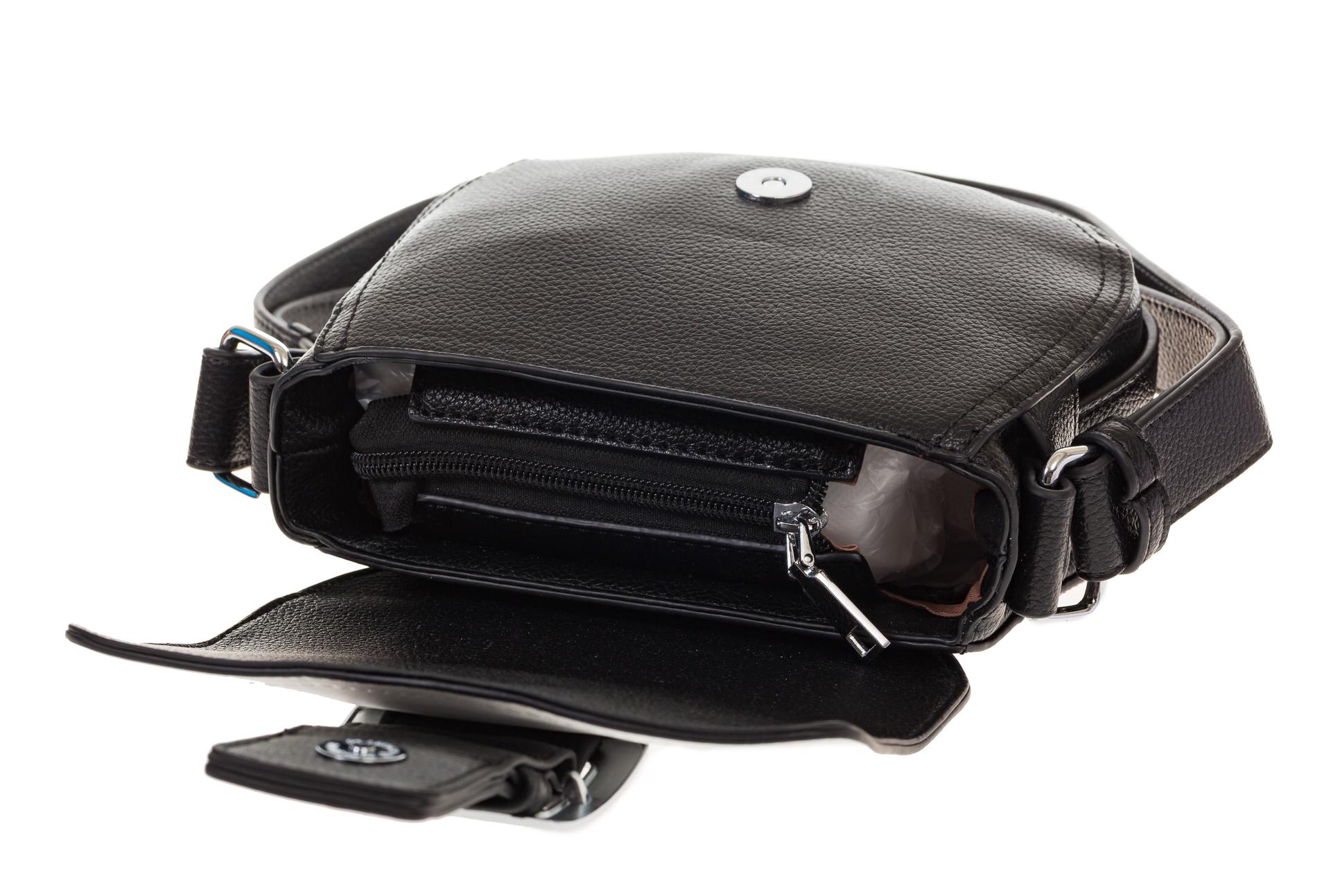 На фото 4 - Сумка saddle bag из черной эко-кожи Buffalo 1026APN