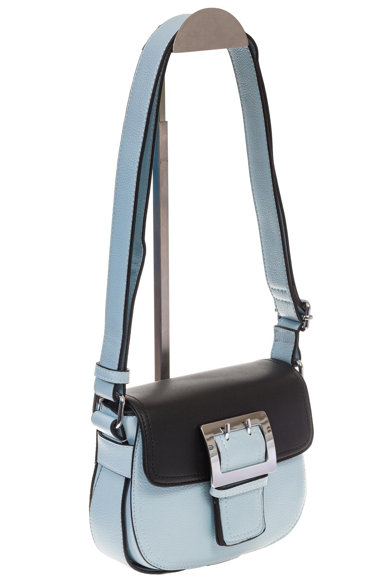На фото 1 - Сумка saddle bag из голубой эко-кожи Buffalo 1026APN
