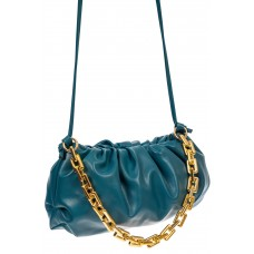 На фото 1 - Театральная женская сумка из искусственной кожи, цвет бирюзовый