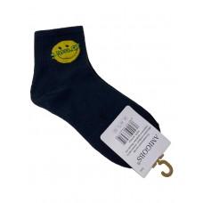На фото 1 - Молодёжные носки с принтом - смайликом, цвет чёрный