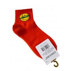 На фото 1 - Молодёжные носки с принтом - смайликом, цвет оранжевый