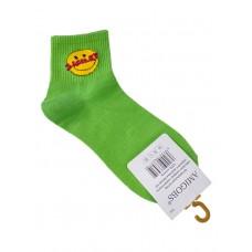 На фото 1 - Молодёжные носки с принтом - смайликом, цвет салатовый