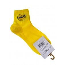 На фото 1 - Молодёжные носки с принтом - смайликом, цвет жёлтый