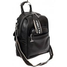 На фото 1 - Женская сумка-рюкзак из искусственной кожи, цвет чёрный