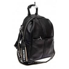 На фото 1 - Сумка-рюкзак молодёжная из фактурной искусственной кожи, цвет чёрный
