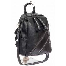 На фото 1 - Сумка-рюкзак из фактурной экокожи, цвет чёрный