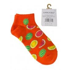 На фото 1 - Яркие хлопковые носки с принтом, цвет оранжевый