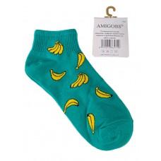 На фото 1 - Яркие хлопковые носки с принтом, цвет бирюзово-зеленый