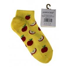 На фото 1 - Яркие хлопковые носки с принтом, цвет жёлтый
