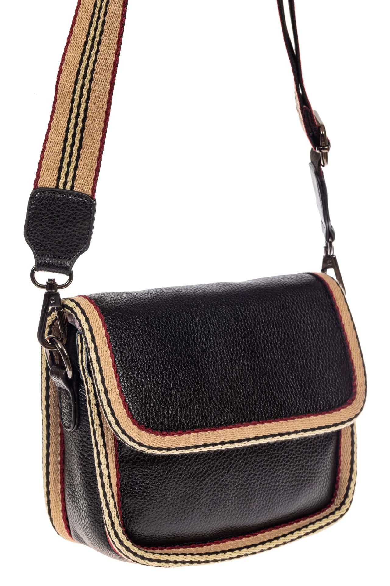 На фото 1 - Сумочка кросс-боди из экокожи, цвет черный