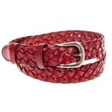 На фото 1 - Плетеный ремень из натуральной кожи, цвет красный