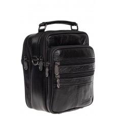 На фото 1 - Небольшая мужская сумка под документы из натуральной кожи, цвет чёрный