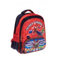 На фото 1 - Рюкзак для мальчика из текстиля, цвет темно-синий с красным