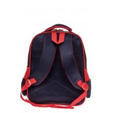 На фото 2 - Рюкзак для мальчика из текстиля, цвет темно-синий с красным