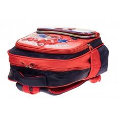 На фото 3 - Рюкзак для мальчика из текстиля, цвет темно-синий с красным