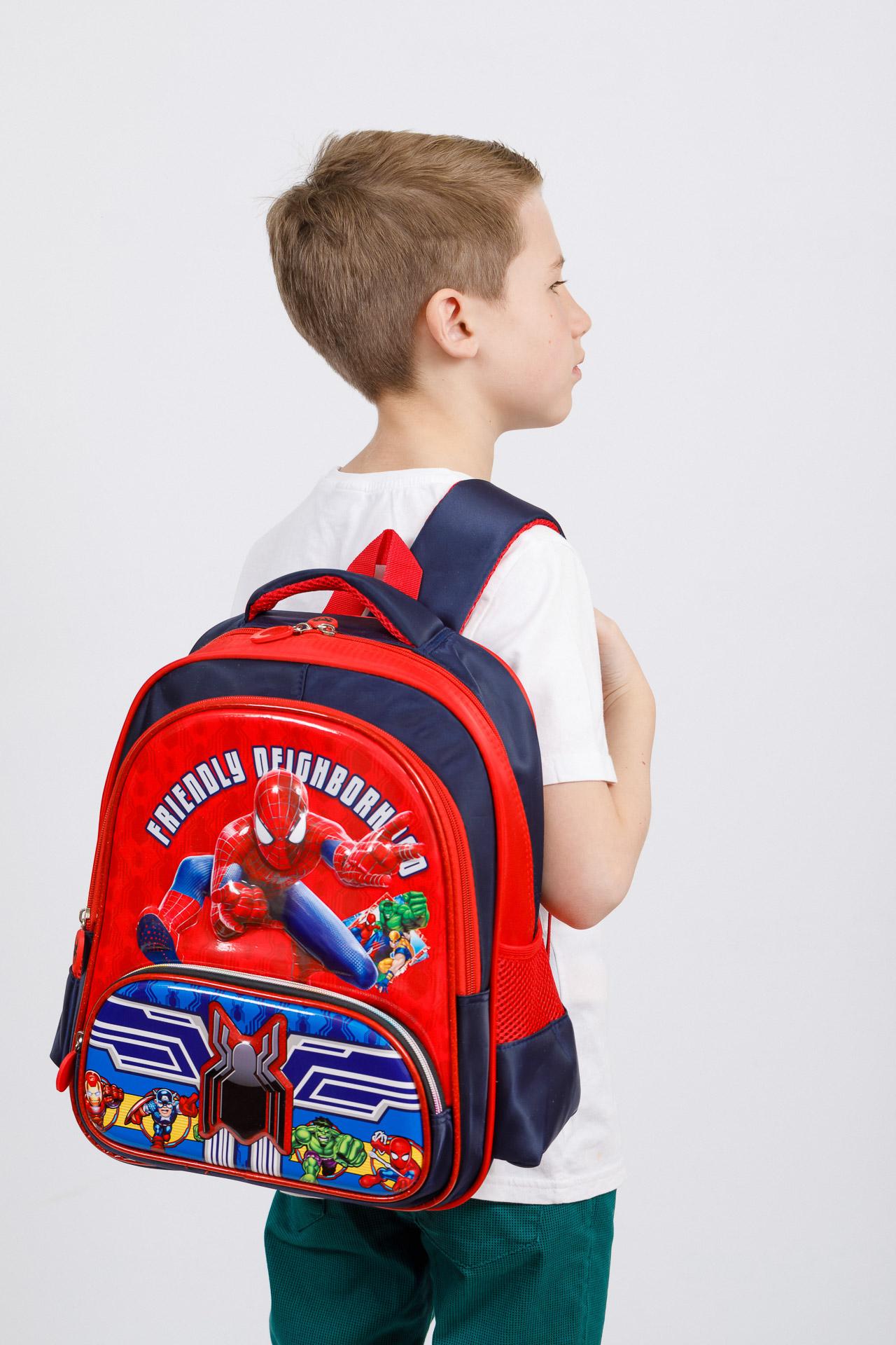 На фото 4 - Рюкзак для мальчика из текстиля, цвет темно-синий с красным