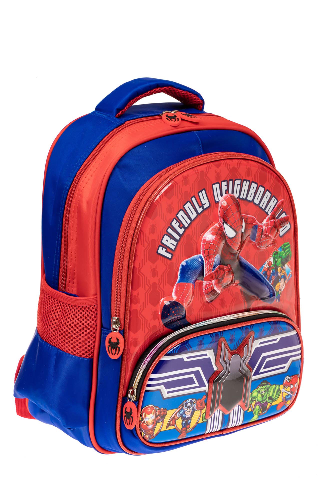 На фото 1 - Рюкзак для мальчика из текстиля, цвет синий с красным