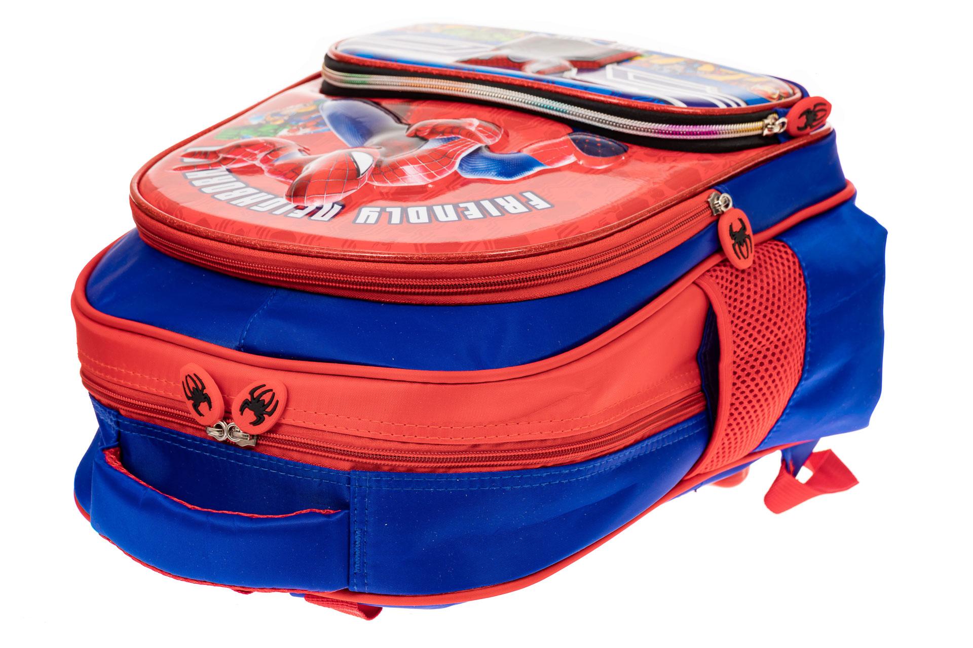 На фото 3 - Рюкзак для мальчика из текстиля, цвет синий с красным